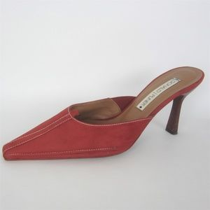 "Donald J Pliner Burnt Red Suede Mules 4"" Heels 11"